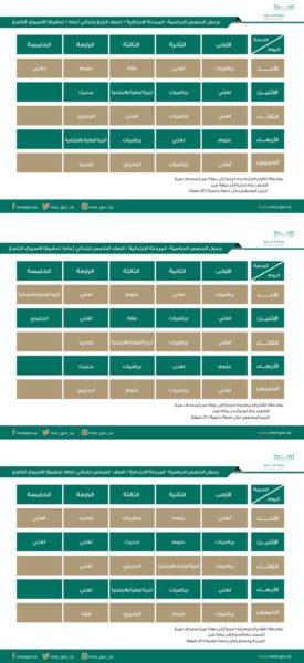 جدول دروس الأسبوع التاسع على قنوات عين للصف ( الرابع والخامس والسادس ) الابتدائي 1441 هـ - 2020 م