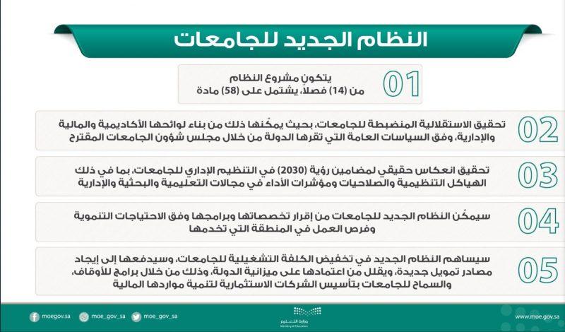 أبرز ملامح النظام الجديد للجامعات في المملكة العربية السعودية 1