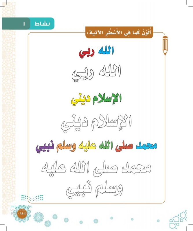 شرح وحل درس ما يجب على المسلم معرفته الاول الابتدائي 2