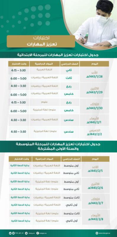 جدول اختبارات تعزيز المهارات للطلاب 1443 هـ - 2022 م