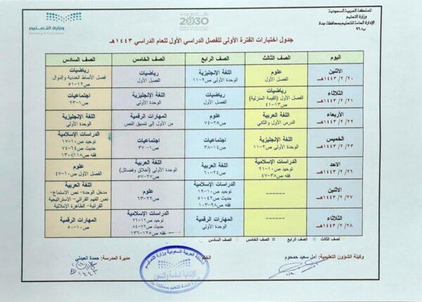 تحميل نموذج جدول اختبارات الفترة الاولى للفصل الدراسي الاول 1443 هـ - 2022 م